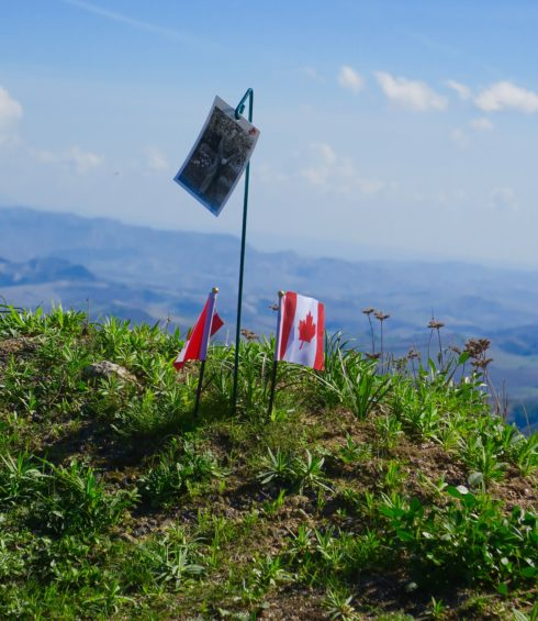 Canadian Flags on Mount Assoro