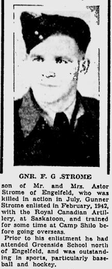 Obituary of Gunner Frank Strome