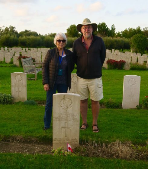 Anne Smith and Mark Zuehlke at the Grave of Major A.R.Campbell