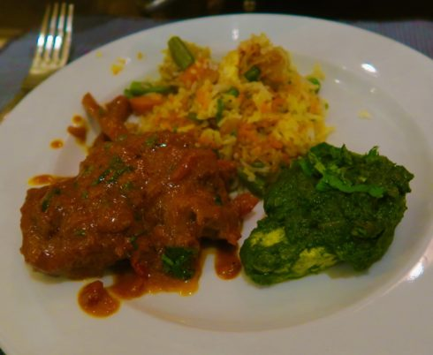 Lamb Chops, Rice and Spinach, Moghul Room