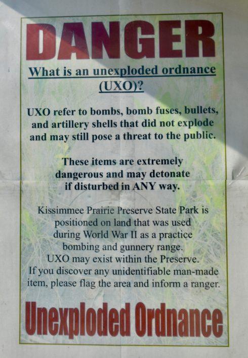 Danger, Unexploded Ordinance, Kissimmee Prairie