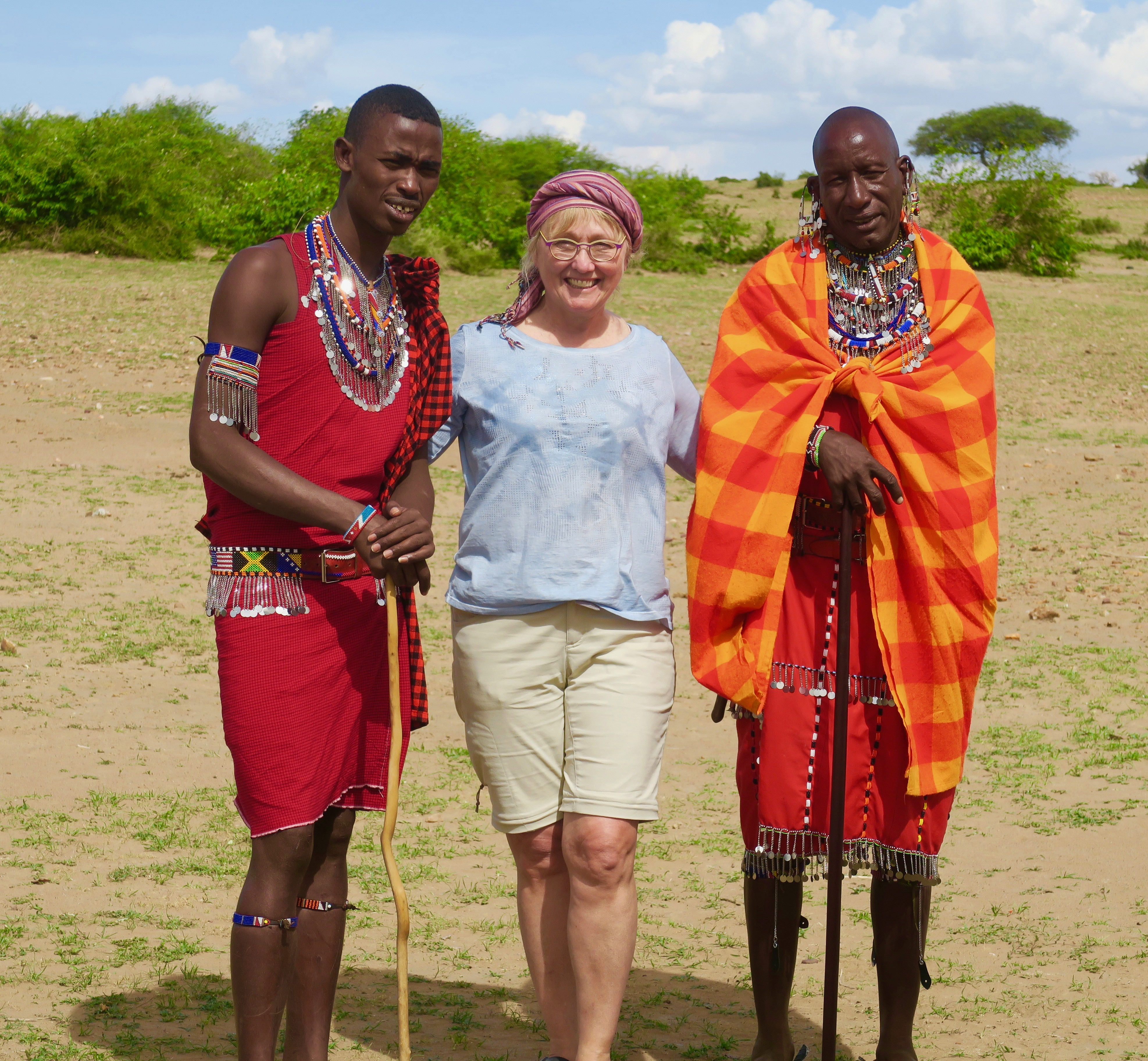 Alison with Two Masai Men