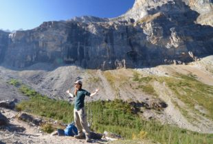 Laura Uses Her Arms to Demonstrate Geological Time, Kootenay National Park