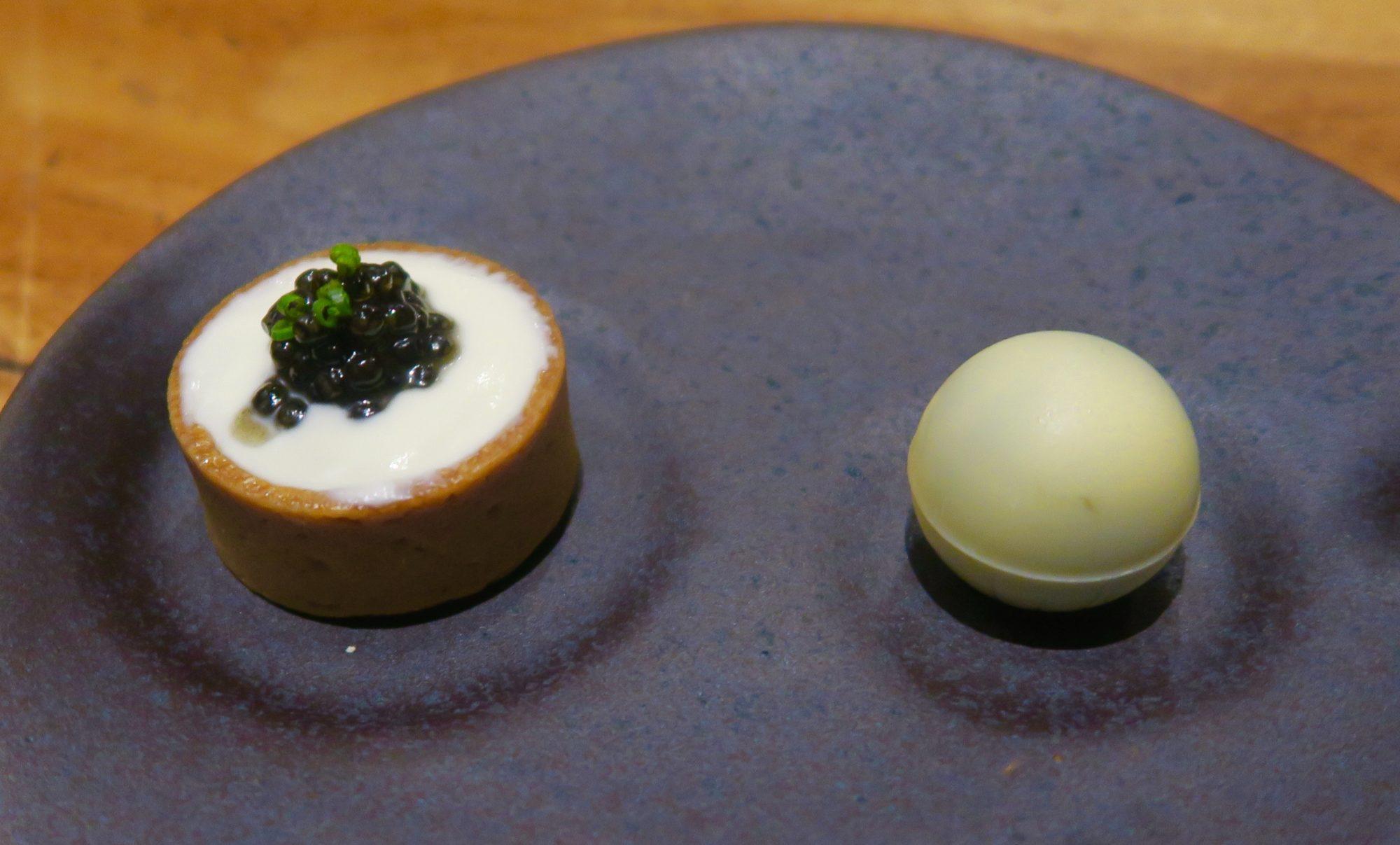Quail Egg with Caviar and Chocolate Caviar Truffle, 5 Fusion