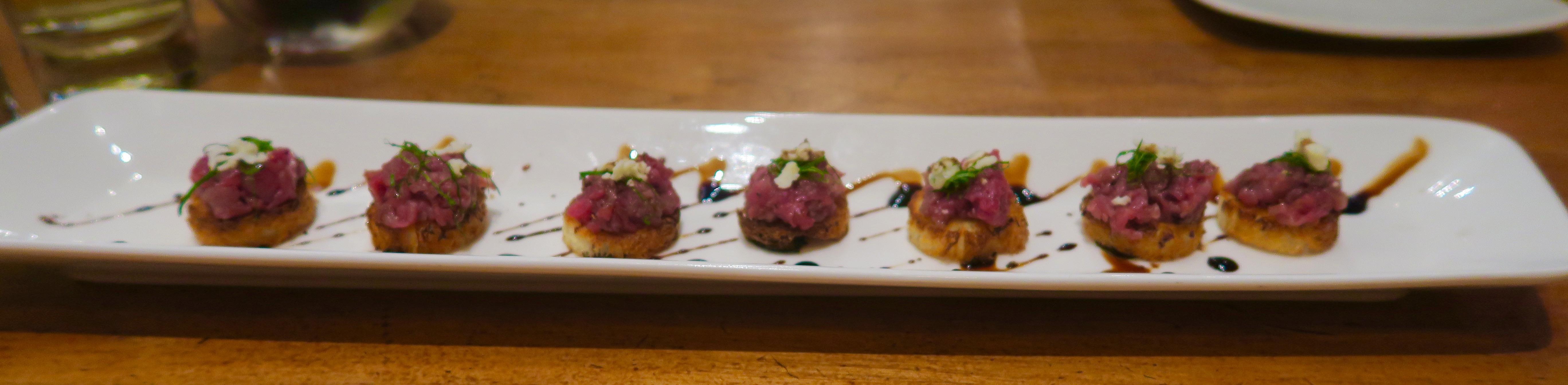 2. Beef Tartare on Brioche with Yuzu Dashi, 5 Fusion