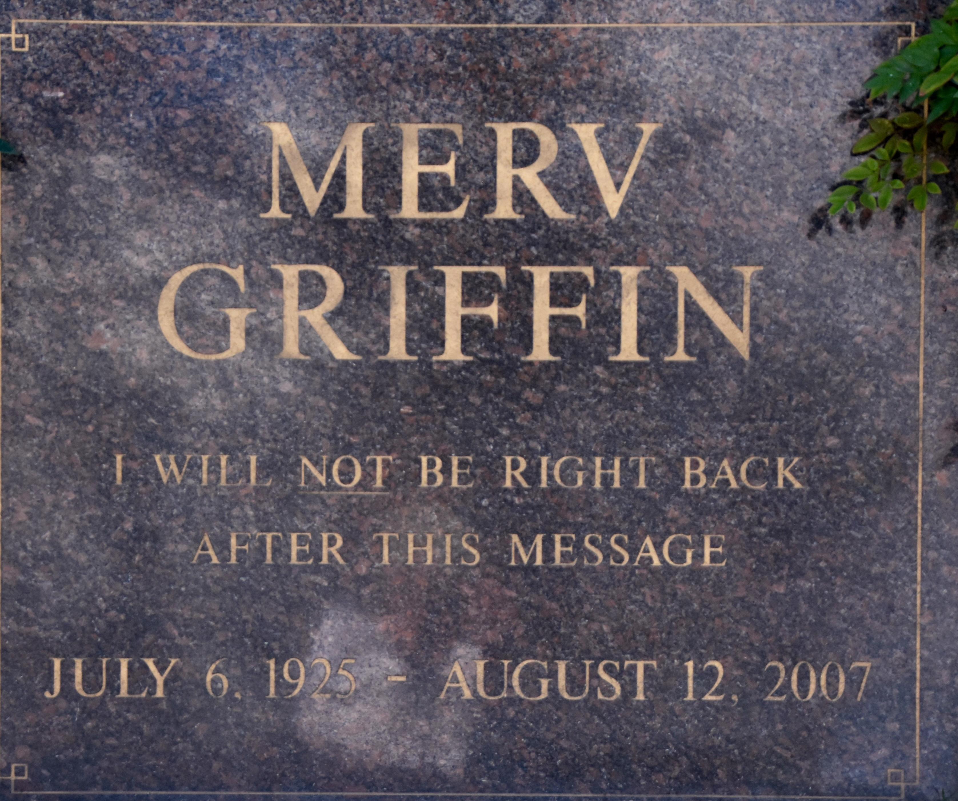 Merv Griffin, Westwood Village Cemetery