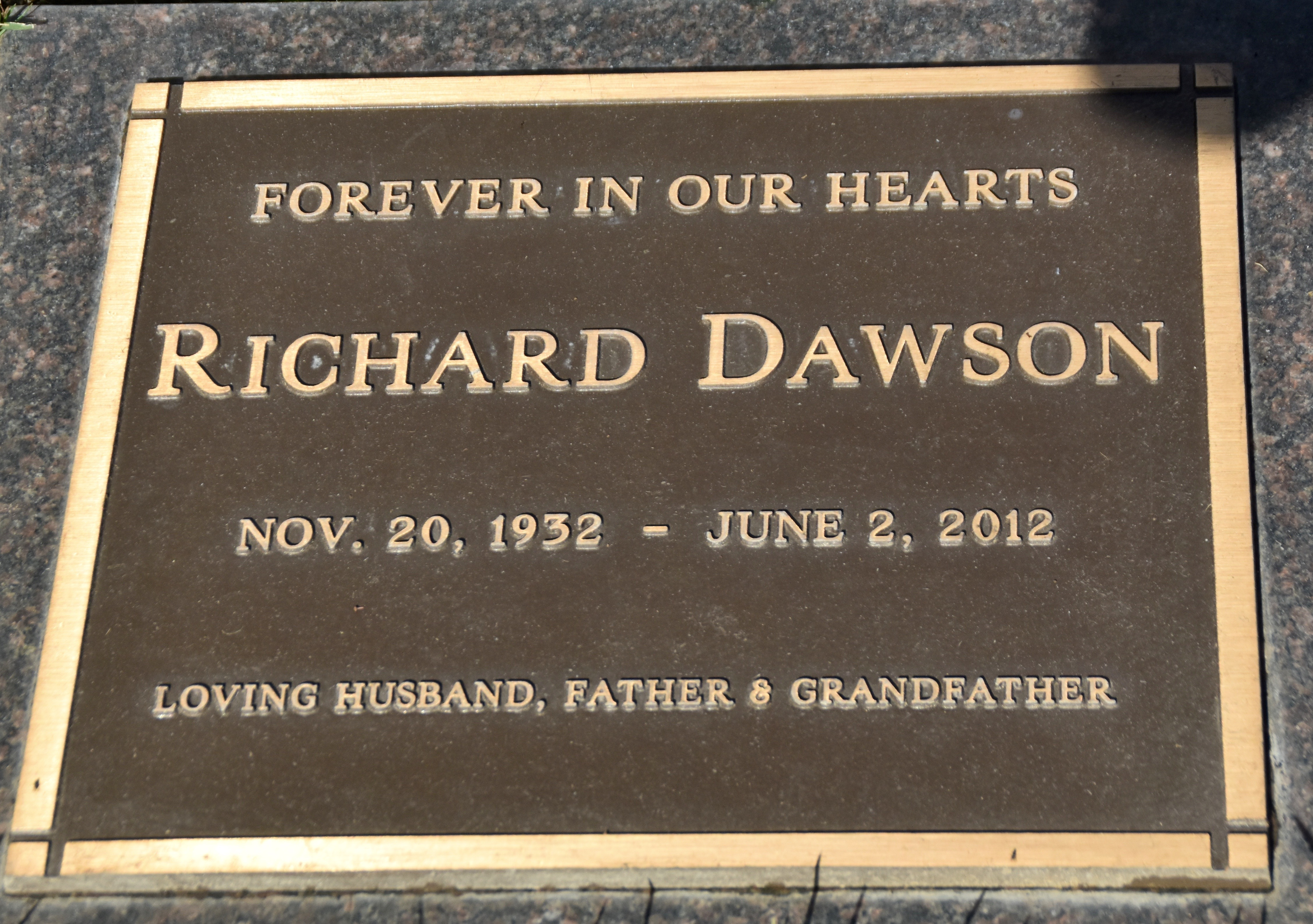 Richard Dawson, Westwood Village Cemetery