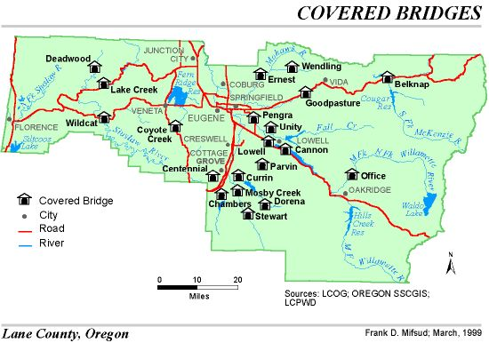 Lowell Oregon Map.Lane County Oregon Covered Bridges Waterfalls Wine The