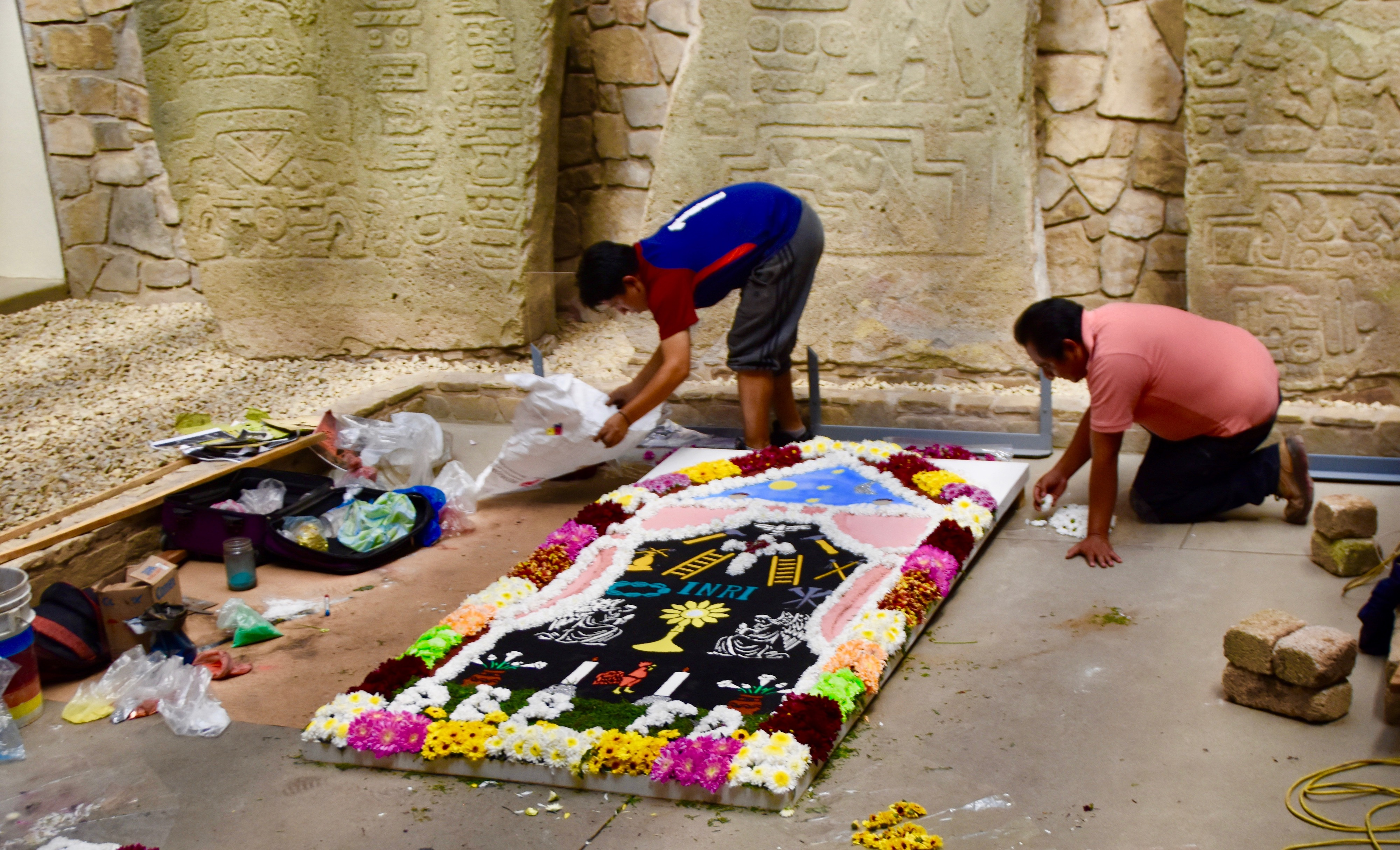 Working on the Muertes Altar, Monte Alban